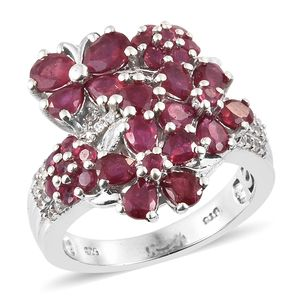 Niassa Ruby, Cambodian Zircon Platinum Over Sterling Silver Floral Cluster Ring (Size 8.0) TGW 5.17 cts.