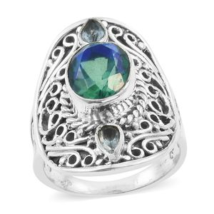 Artisan Crafted Peacock Quartz, Sky Blue Topaz Sterling Silver Ring (Size 5.0) TGW 4.23 cts.