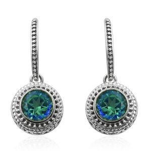 Artisan Crafted Peacock Quartz Sterling Silver Earrings TGW 5.88 cts.