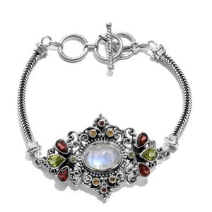 Rainbow Moonstone, Multi Gemstone Sterling Silver Toggle Clasp Bracelet (8.50 In) TGW 10.98 cts.