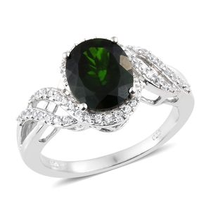 Russian Diopside, Cambodian Zircon Platinum Over Sterling Silver Ring (Size 10.0) TGW 4.22 cts.