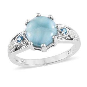 Larimar, Multi Gemstone Platinum Over Sterling Silver Ring (Size 7.0) TGW 4.91 cts.
