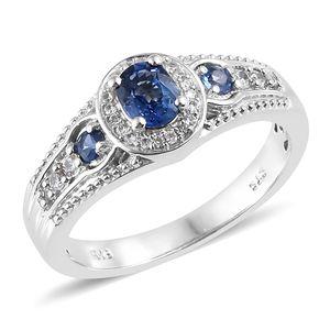 Ceylon Blue Sapphire, Cambodian Zircon Platinum Over Sterling Silver Ring (Size 7.0) TGW 0.97 cts.