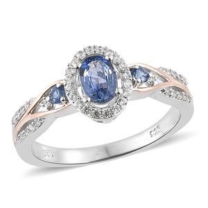 Ceylon Blue Sapphire, Cambodian Zircon Vermeil RG & Platinum Over Sterling Silver Ring (Size 7.0) TGW 1.05 cts.