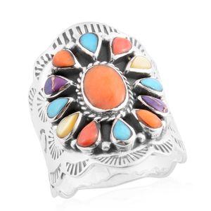 Santa Fe Style Kingman Turquoise, Multi Gemstone Sterling Silver Ring (Size 10.0) TGW 0.38 cts.