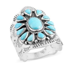Santa Fe Style Kingman Turquoise Sterling Silver Flower Ring (Size 7.0) TGW 3.00 cts.
