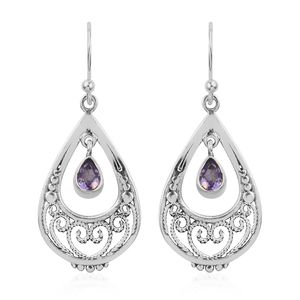 Artisan Crafted Bolivian Amethyst Sterling Silver Earrings TGW 0.80 cts.