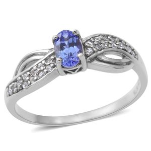 Premium AAA Tanzanite, Cambodian White Zircon Sterling Silver Split Ring (Size 7.0) TGW 0.60 cts.