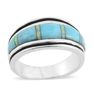 Santa Fe Style Kingman Turquoise, Lab Created Opal Sterling Silver Band Ring (Size 8.0) TGW 4.50 cts.