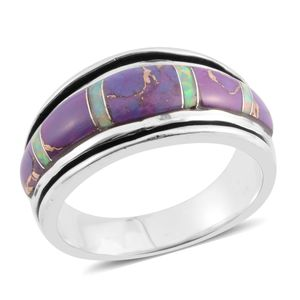Santa Fe Style Mojave Purple Turquoise, Lab Created Opal Sterling Silver Band Ring (Size 9.0) TGW 4.50 cts.
