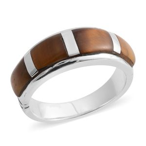 Santa Fe Style South African Tigers Eye Sterling Silver Band Ring (Size 6.0) TGW 5.50 cts.
