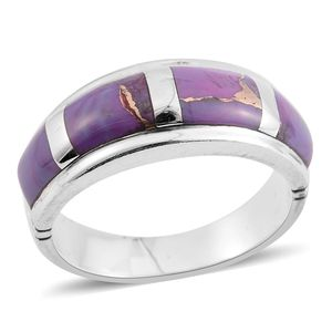 Santa Fe Style Mojave Purple Turquoise Sterling Silver Band Ring (Size 7.0) TGW 5.50 cts.