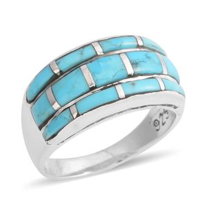 Santa Fe Style Kingman Turquoise Sterling Silver Band Ring (Size 8.0) TGW 4.50 cts.
