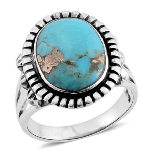 Santa Fe Style Turquoise Lava Sterling Silver Ring (Size 7.0) TGW 6.50 cts.