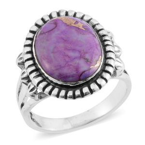 Santa Fe Style Mojave Purple Turquoise Sterling Silver Ring (Size 10.0) TGW 6.50 cts.
