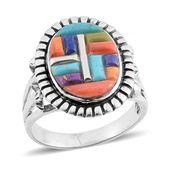 Santa Fe Style Multi Gemstone Sterling Silver Ring (Size 9.0) TGW 1.00 cts.