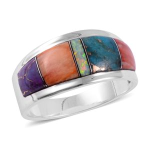 Santa Fe Style Multi Gemstone Sterling Silver Band Ring (Size 7.0) TGW 1.50 cts.
