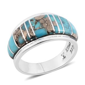 Santa Fe Style Turquoise Lava Sterling Silver Band Ring (Size 7.0) TGW 6.50 cts.