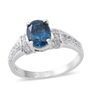 London Blue Topaz, Cambodian White Zircon Platinum Over Sterling Silver Ring (Size 10.0) TGW 2.55 cts.
