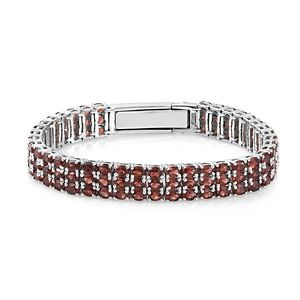 Mozambique Garnet Platinum Over Sterling Silver Triple Row Bracelet (6.50-8.00In) TGW 24.75 cts.