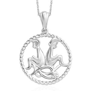 Gemini Platinum Over Sterling Silver Twins Pendant With Chain (20 in)