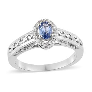 Ceylon Blue Sapphire, Cambodian Zircon Platinum Over Sterling Silver Ring (Size 7.0) TGW 1.05 cts.