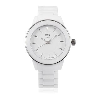 EON 1962 Swiss Movement Water Resistant Watch with White Ceramic Strap and Stainless Steel Back