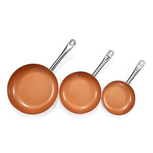 3 Piece Non Stick Cermic Infused Copper Pan 5 in 1 Cookware (8,9.5,11 In)