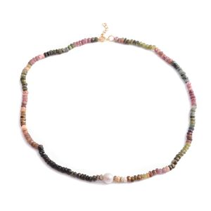 Multi-Tourmaline, Freshwater Pearl 14K YG Over Sterling Silver Necklace (18 in) TGW 75.00 cts.