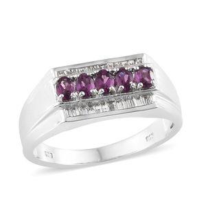 Purple Garnet, White Topaz Platinum Over Sterling Silver Men's Ring (Size 12.0) TGW 1.78 cts.