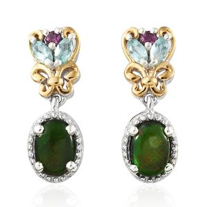 Canadian Ammolite, Multi Gemstone Vermeil YG and Platinum Over Sterling Silver Earrings TGW 2.12 cts.