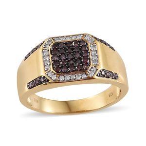 Purple Diamond (IR), Diamond Black Rhodium & Vermeil YG Over Sterling Silver Men's Ring (Size 11.0) TDiaWt 0.75 cts, TGW 0.75 cts.