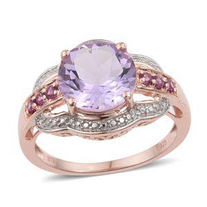 Rose De France Amethyst, Orissa Rhodolite Garnet Vermeil RG Over Sterling Silver Ring (Size 5.0) TGW 4.48 cts.