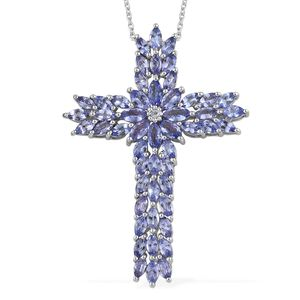 TLV Tanzanite Platinum Over Sterling Silver Cross Pendant With Chain (20 in) TGW 8.51 cts.