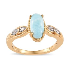 Larimar, Cambodian Zircon Vermeil YG Over Sterling Silver Ring (Size 7.0) TGW 2.37 cts.