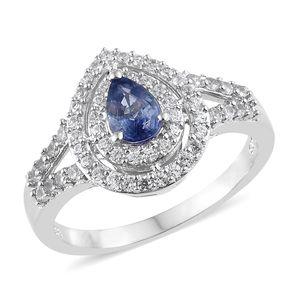Ceylon Blue Sapphire, Cambodian Zircon Platinum Over Sterling Silver Split Ring (Size 7.0) TGW 1.52 cts.