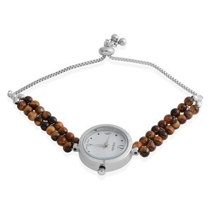 STRADA South African Tigers Eye Japanese Movement Water Resistant Beaded Bolo Bracelet Watch in Stainless Steel (Adjustable) TGW 8.90 cts.