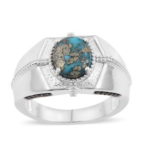 Persian Turquoise, Thai Black Spinel Platinum Over Sterling Silver Men's Signet Ring (Size 13.0) TGW 3.72 cts.