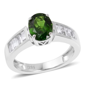 Russian Diopside, White Topaz Sterling Silver Ring (Size 10.0) TGW 1.65 cts.
