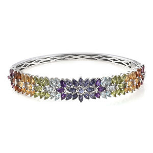Multi Gemstone Platinum Over Sterling Silver Bangle (7.25 in) TGW 11.40 cts.