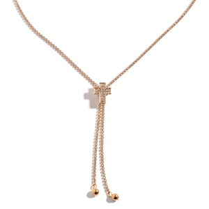 Austrian Crystal Goldtone Necklace with Cross Slider (36 in)