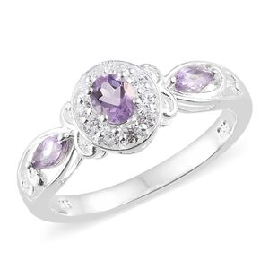 Rose De France Amethyst, Simulated Diamond Sterling Silver Ring (Size 7.0) TGW 1.13 cts.