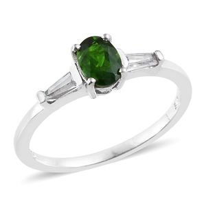 Russian Diopside, White Topaz Platinum Over Sterling Silver Ring (Size 7.0) TGW 1.25 cts.