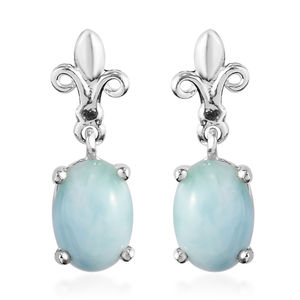 Natural Green Larimar Sterling Silver Earrings TGW 1.92 cts.