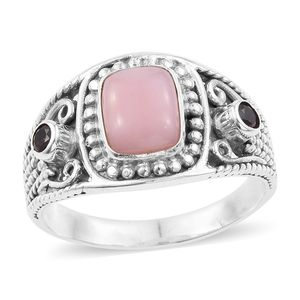 Artisan Crafted Peruvian Pink Opal, Orissa Rhodolite Garnet Sterling Silver Ring (Size 7.0) TGW 1.90 cts.