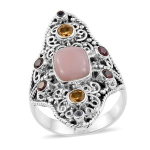 Artisan Crafted Peruvian Pink Opal, Multi Gemstone Sterling Silver Ring (Size 8.0) TGW 3.46 cts.