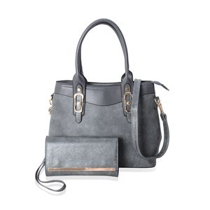 Slate Faux Leather Shoulder Bag with Detachable Shoulder Strap (14x6x10.5 In)  and f11c11e35be80