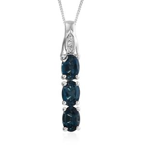 Dan's Collector Deal London Blue Topaz, Cambodian Zircon Platinum Over Sterling Silver Pendant With Chain (20 in) TGW 2.94 cts.