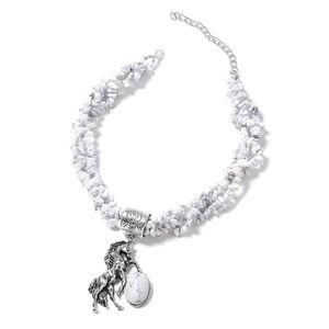 White Howlite Black Oxidized Silvertone Pendant With Necklace (18 in) TGW 537.60 cts.