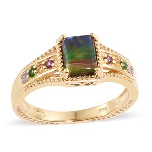 Canadian Ammolite, Multi Gemstone Vermeil YG Over Sterling Silver Ring (Size 8.0) TGW 1.70 cts.